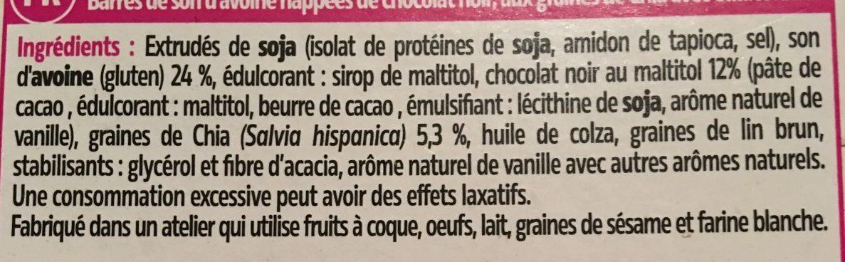 Barres au chocolat et graines de chia - Ingrédients - fr