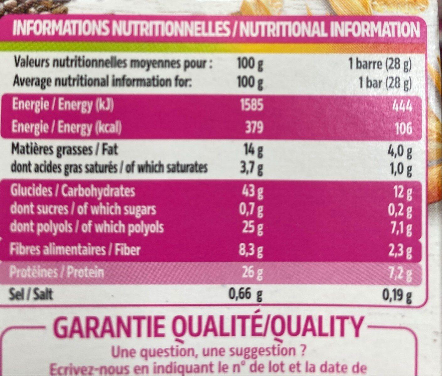 Barres au chocolat et graines de chia - Informations nutritionnelles - fr