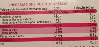 Biscuits chocolat et graines de Chia - Nutrition facts