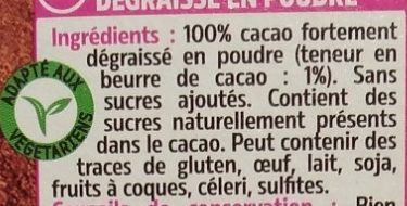 Cacao en poudre 1% M.G et 1% sucres - Ingredients
