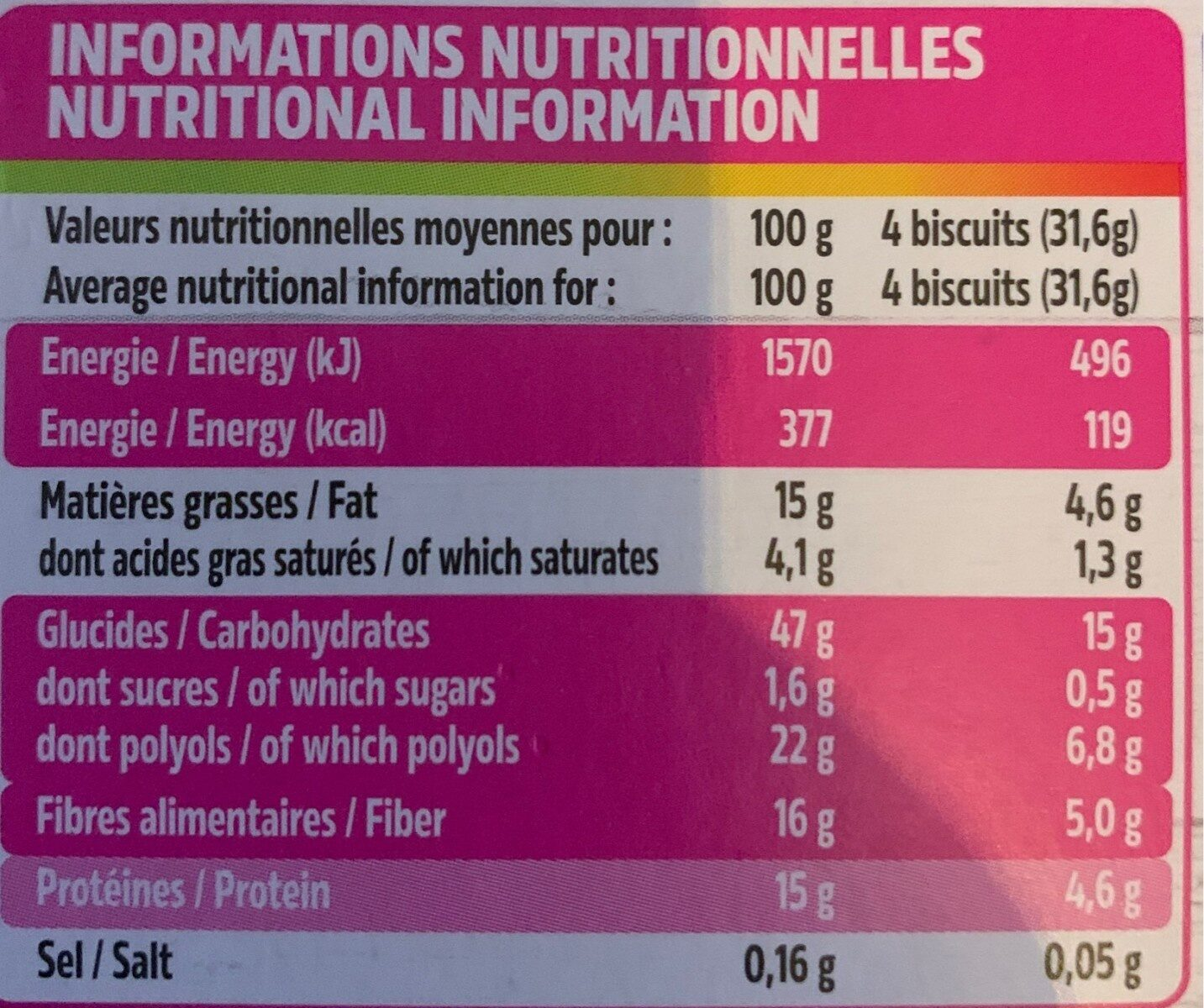 Biscuits au pur son d'avoine aux pépites de chocolat - Nutrition facts - fr