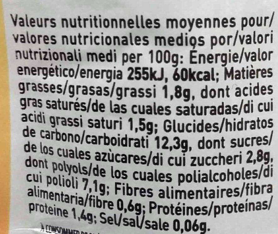 Crème à la vanille à base de konjac - Nutrition facts