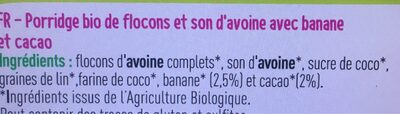 Porridge cacao banane bio - Ingrédients - fr