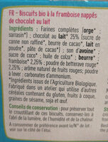 Biscuits framboise chocolat au lait bio - Ingrédients - fr