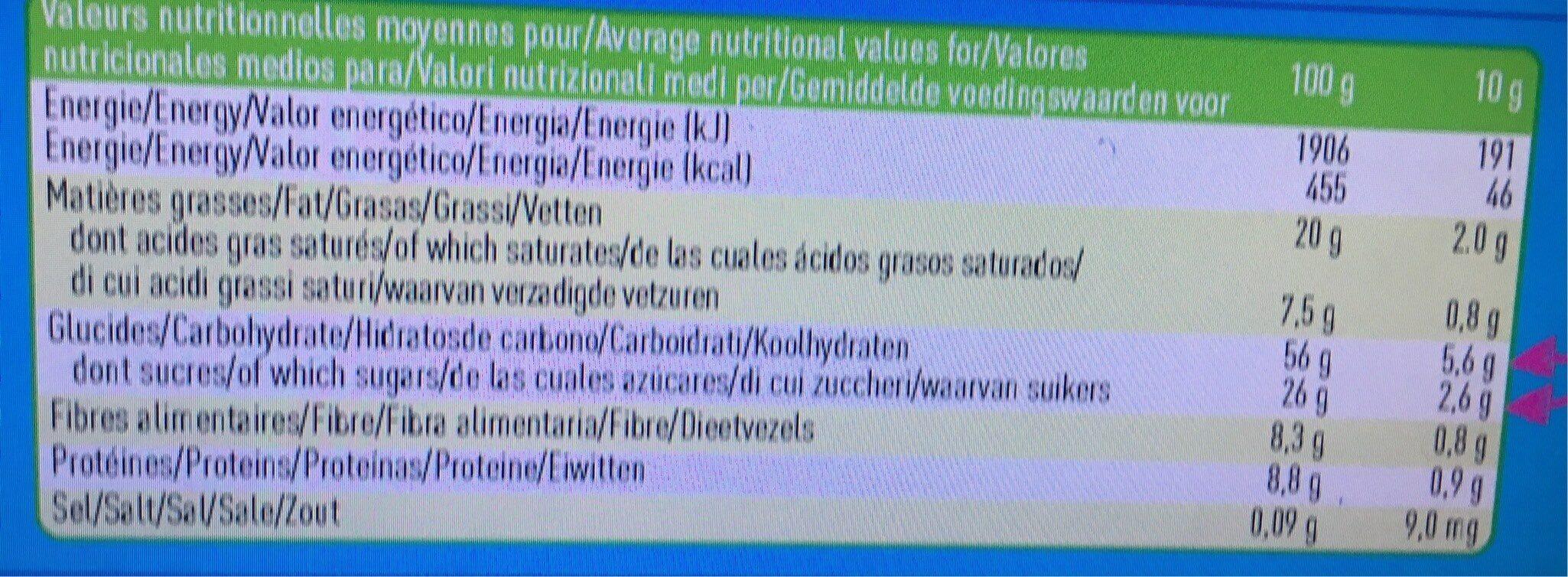 Biscuits framboise chocolat au lait bio - Informations nutritionnelles - fr