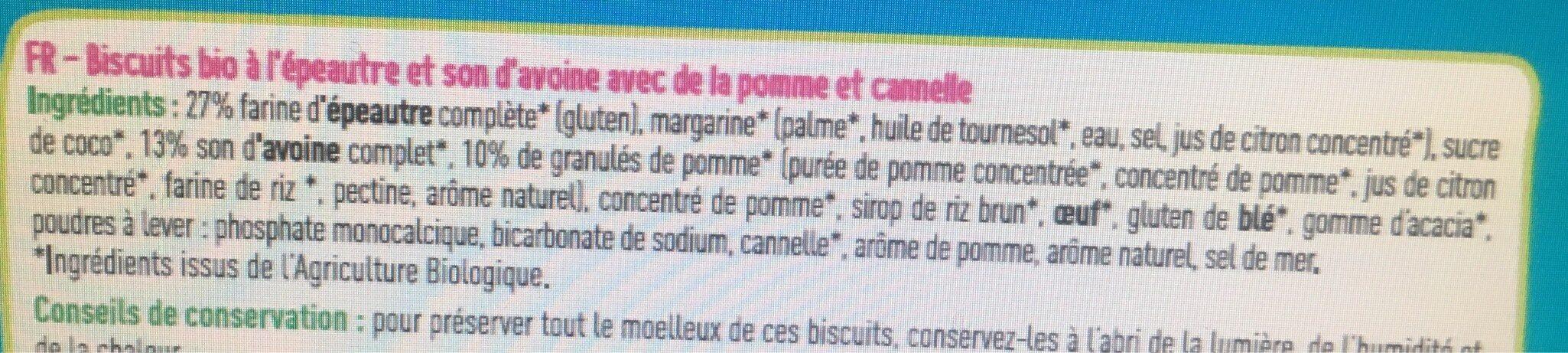 Biscuits moelleux pomme cannelle bio - Ingrédients - fr