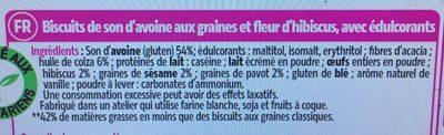 Biscuits au pur son d'avoine graines et fleur d'hibiscus - Ingredients - fr