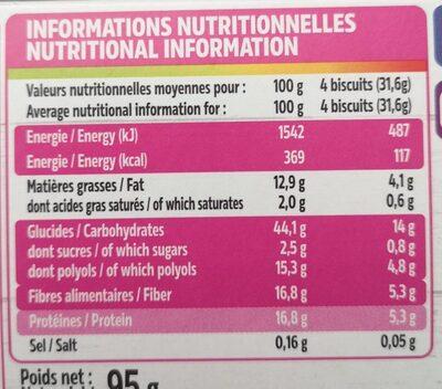 Biscuits au pur son d'avoine graines et fleur d'hibiscus - Nutrition facts - fr