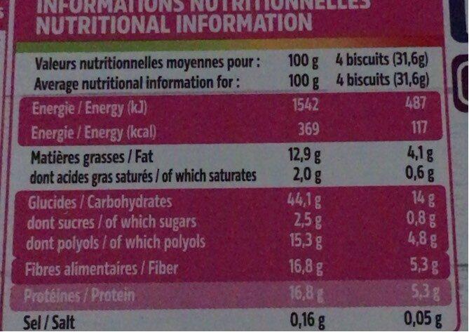Biscuits au pur son d'avoine graines et fleur d'hibiscus - Informations nutritionnelles - fr