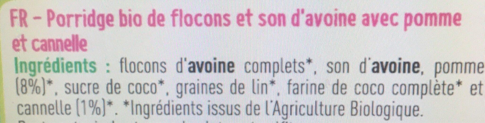 Porridge pomme cannelle bio - Ingrédients - fr