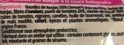Noodles de Konjac à la bolognaise - Ingrédients