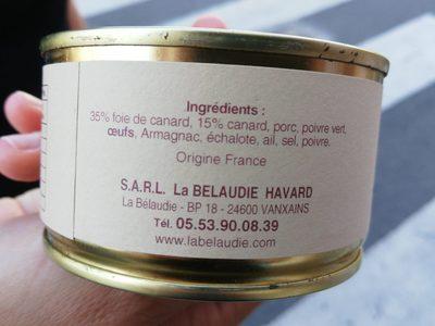 Terrine de canard au poivre vert - Ingrédients - fr