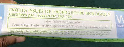 Dattes deglet nour Biologiques d'Algerie - Ingrédients - fr