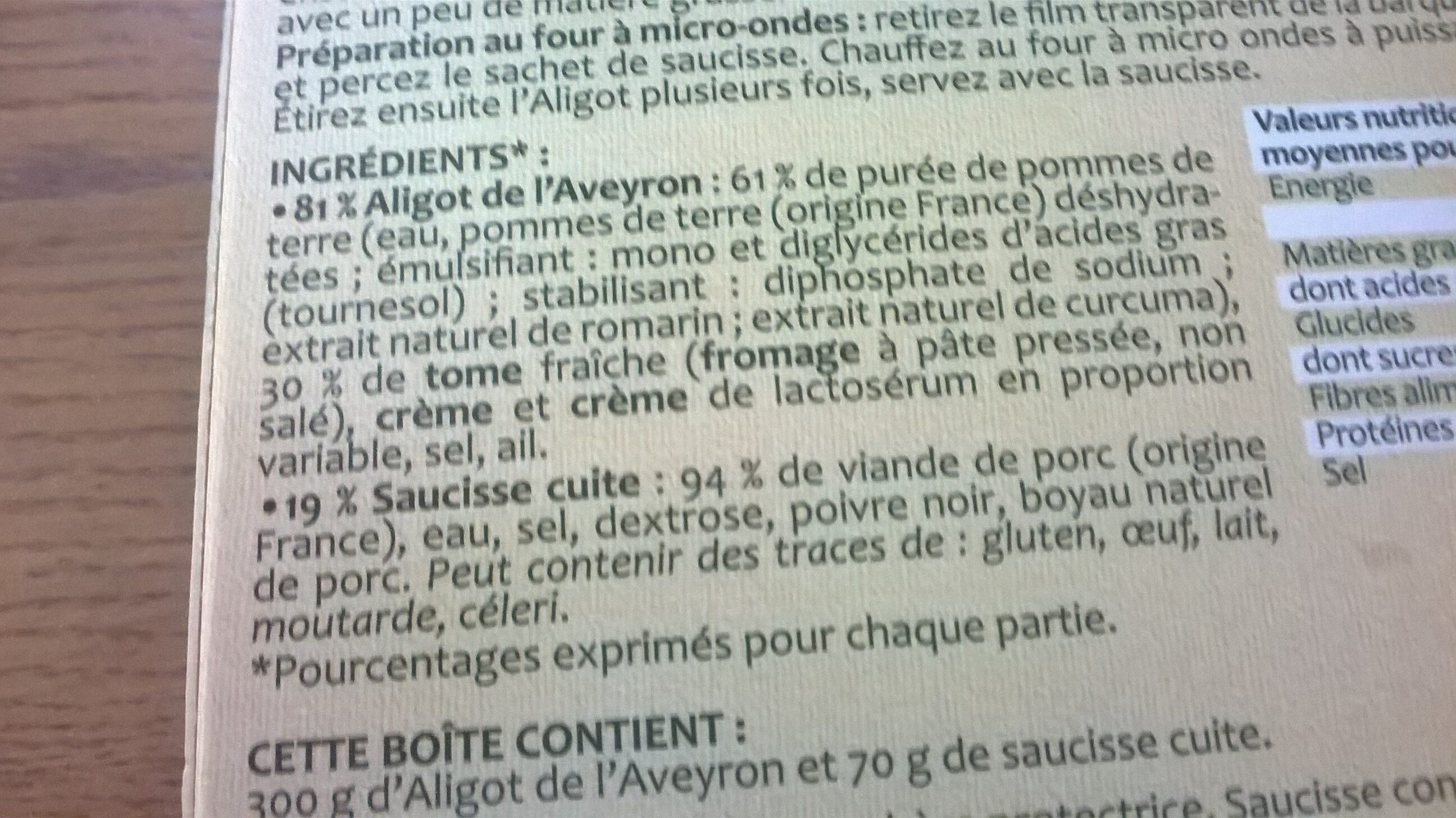 Aligot de l'Aveyron & Saucisse - Ingredients - en