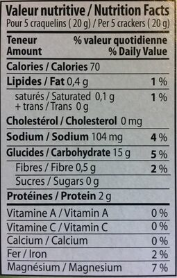 Craquelin 5Grains - Nutrition facts - fr