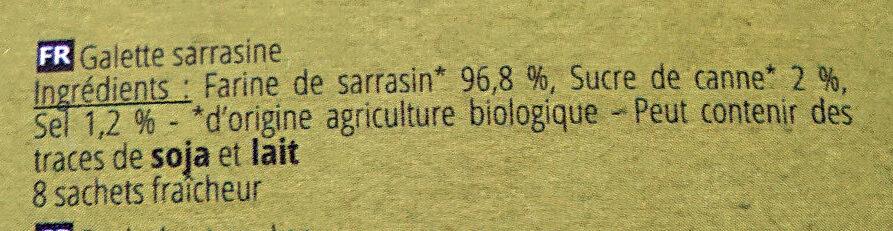 Galette Sarrasine - Ingrédients - fr
