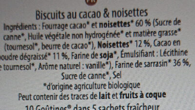 Goûtine cacao & noisettes - Ingredients