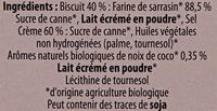 Goûtine sarrasin fourrée Noix de Coco bio et sans gluten - Ingrediënten - fr