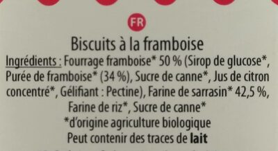Aglina Goûtine Framboise bio, sans gluten Bio, Vegan - Ingredients