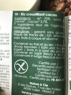Riz Croustillant Chocolat - Ingrédients