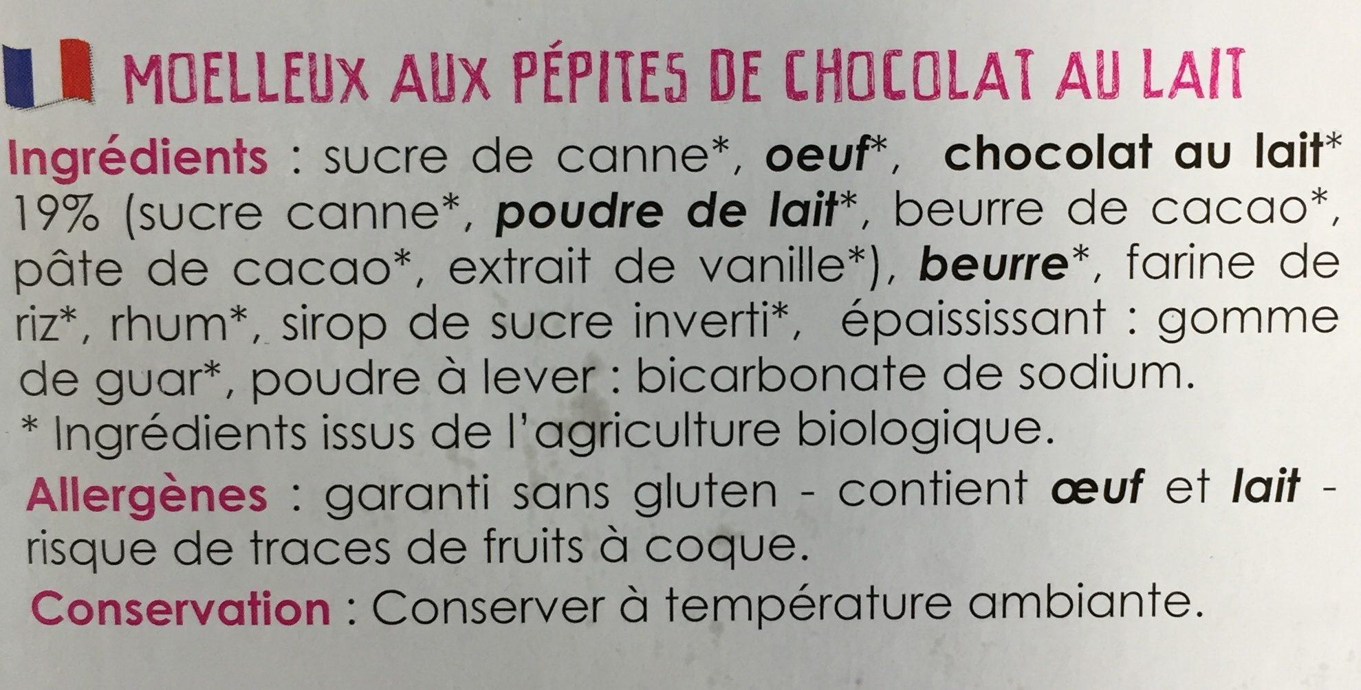 Moelleux pepites - Ingrédients - fr