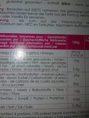 Tarte tatin bio - Ingredients