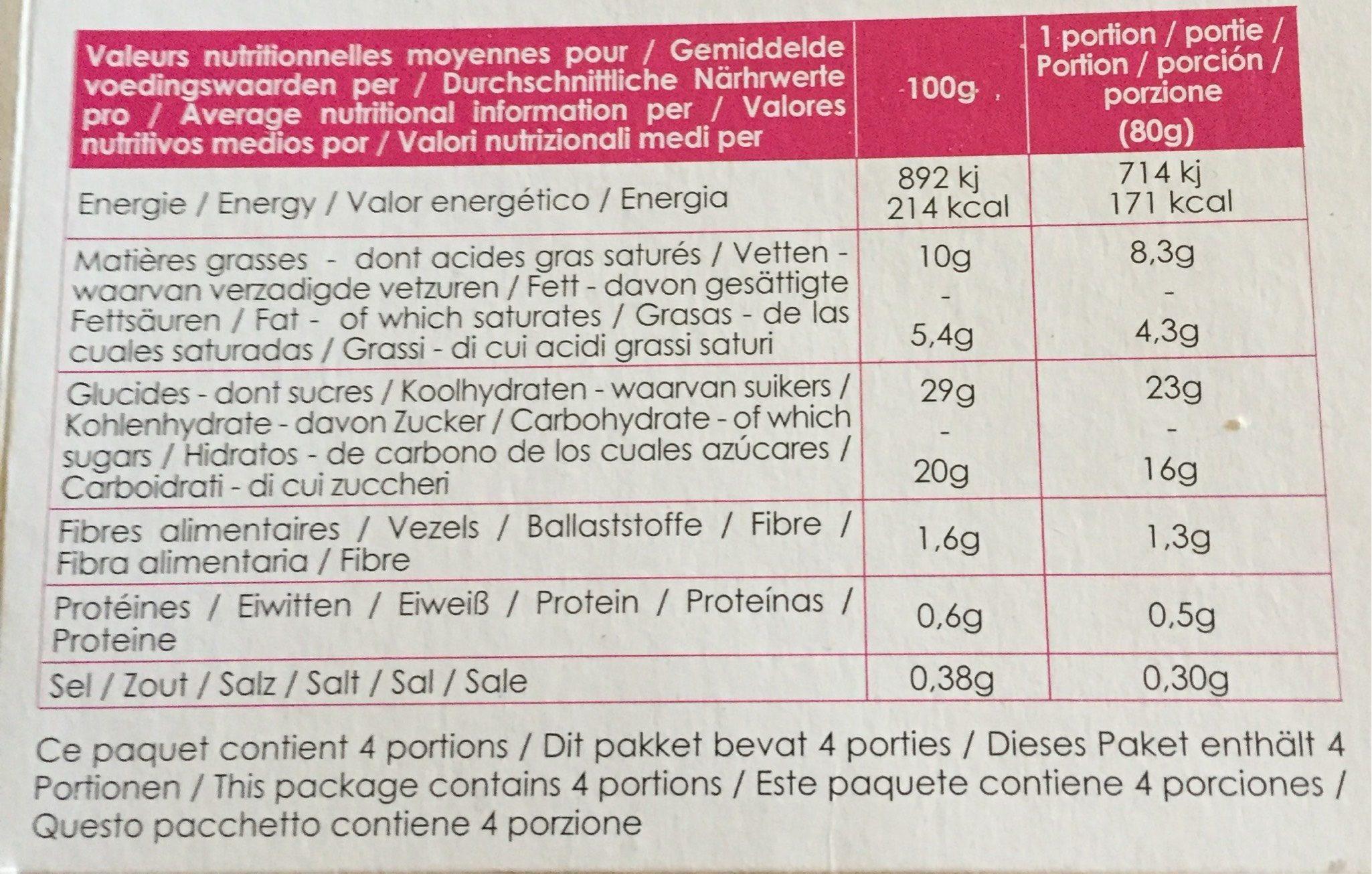 Tarte tatin bio - Nutrition facts