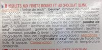 Cookies fruits rouges+choco blc - Ingredientes