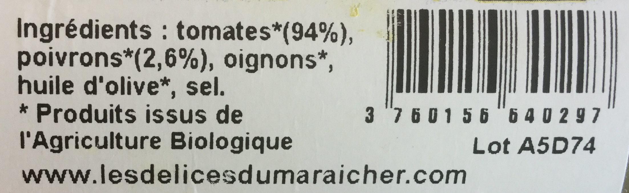 Sauce tomates aux poivrons  - Ingredients