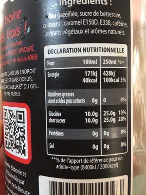 Beauce Cola - Valori nutrizionali - fr