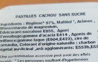 Le cachou pastilles - Ingredientes - fr