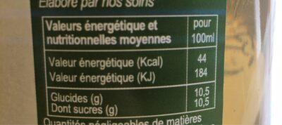 Jus de pomme de l'Avesnois - Informations nutritionnelles - fr