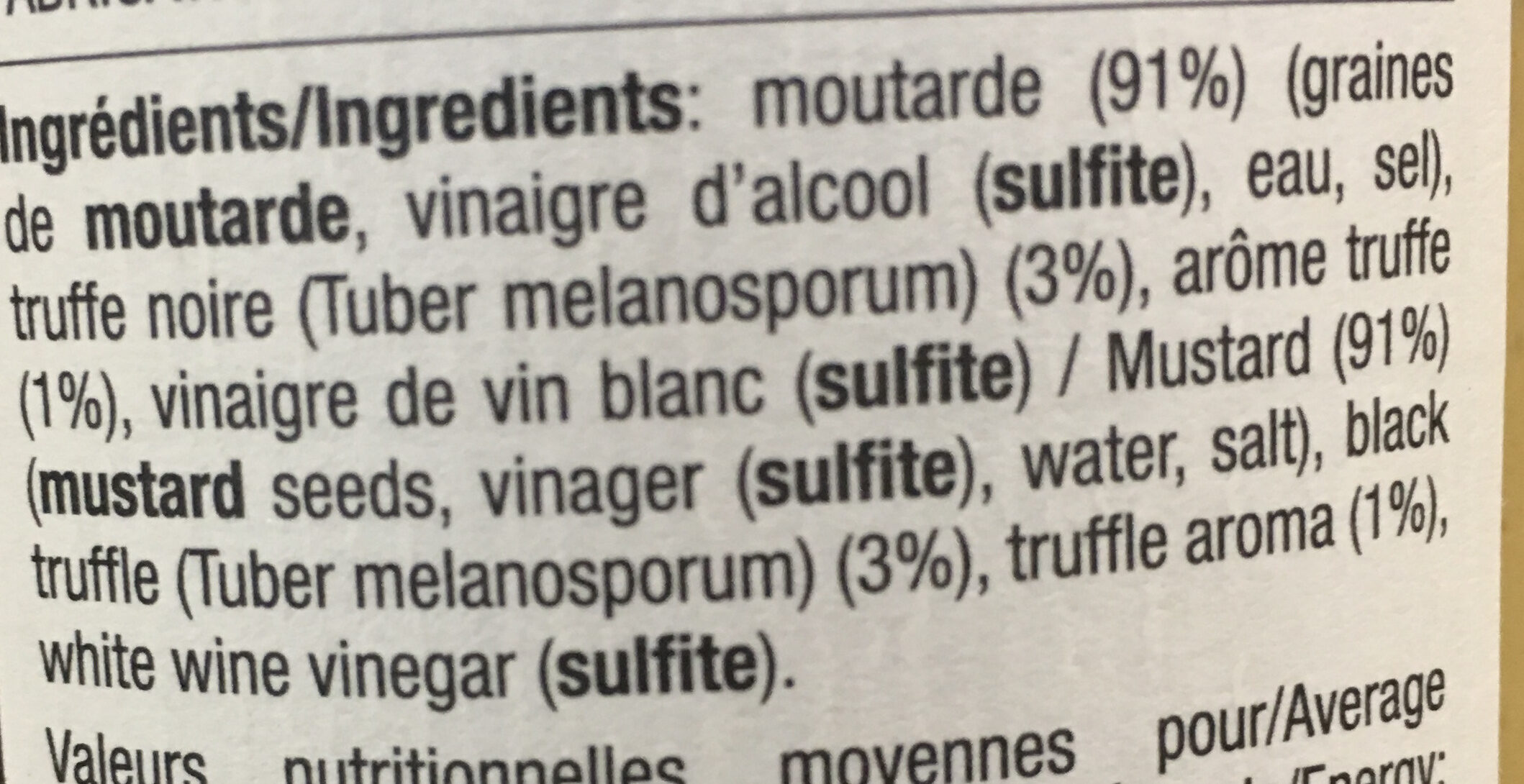 Moutarde et truffe noire - Ingredients