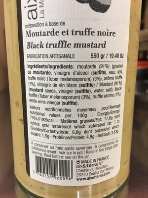 Moutarde et truffe noire - Nutrition facts