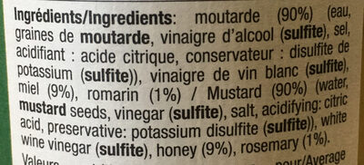 Préparation à base de moutarde, miel et romarin - Ingredients