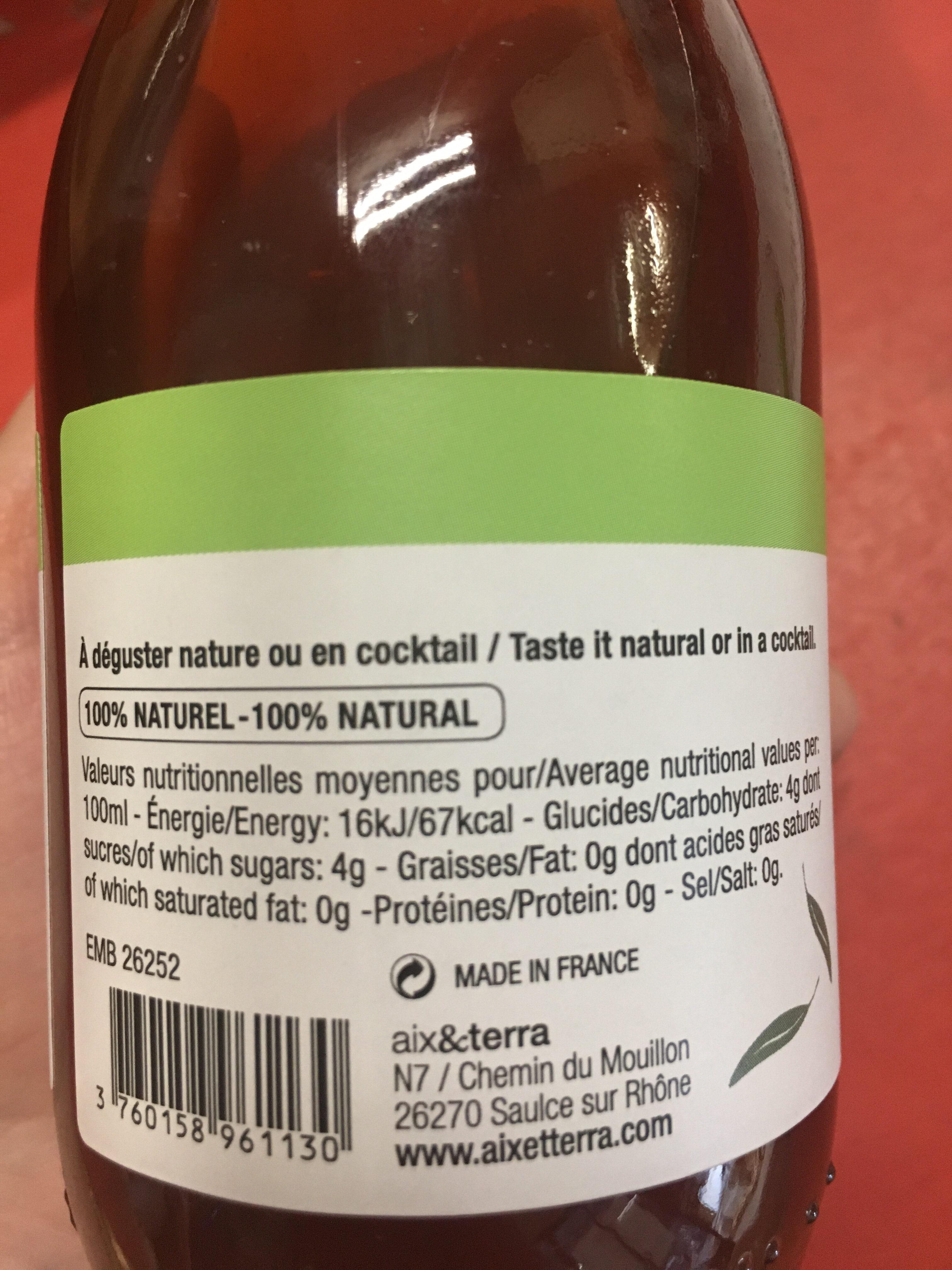 Detox en Provence - Nutrition facts - fr