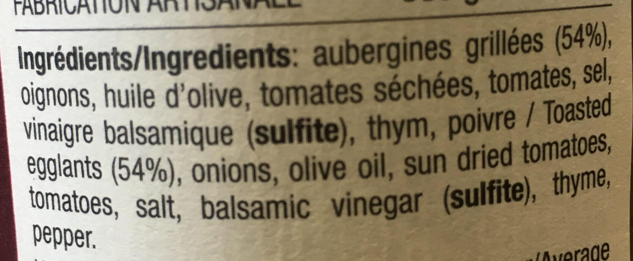 Riste d'aubergines grillées - Ingredients