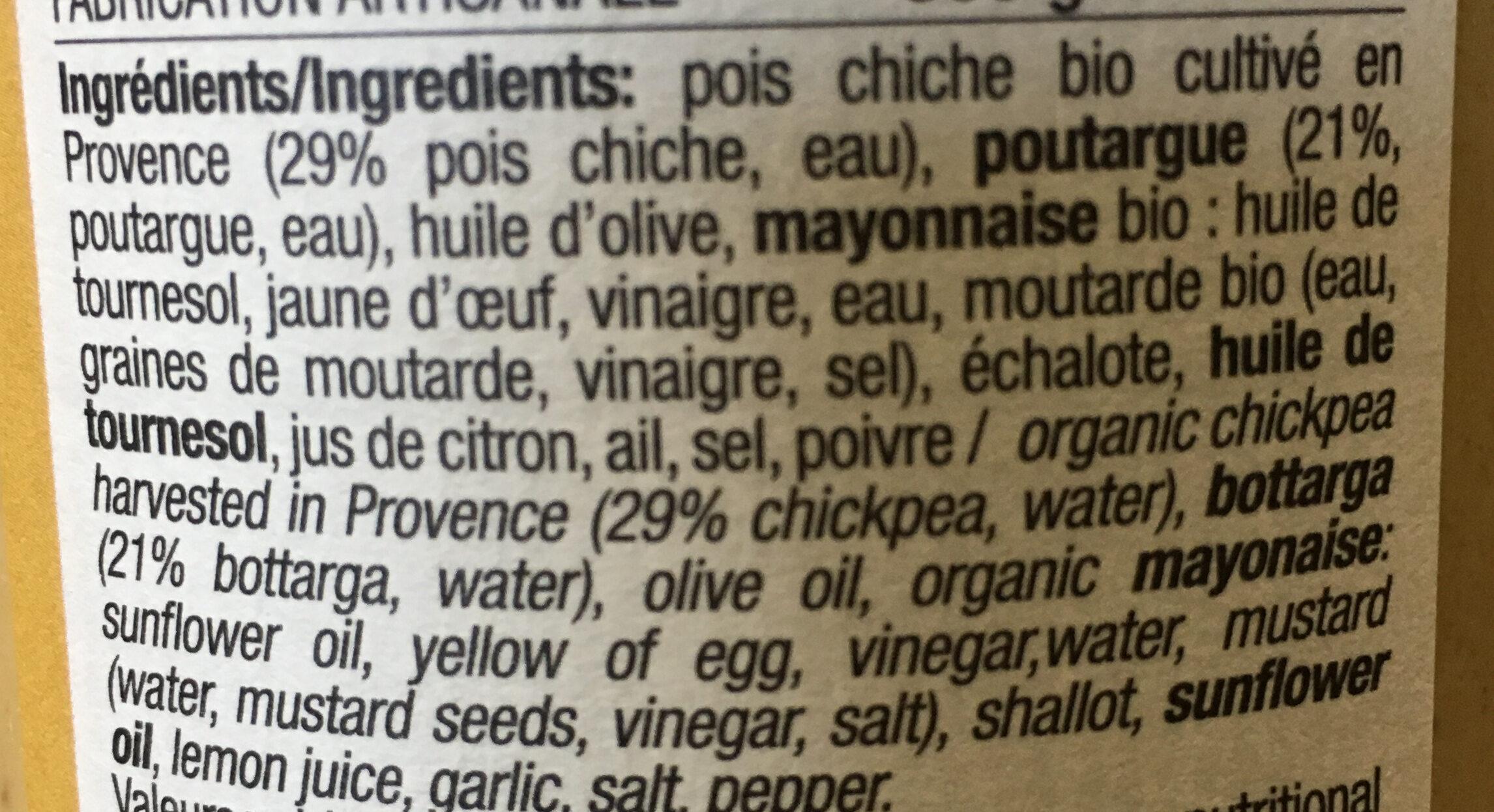 Poichichade à la poutargue - Ingredients