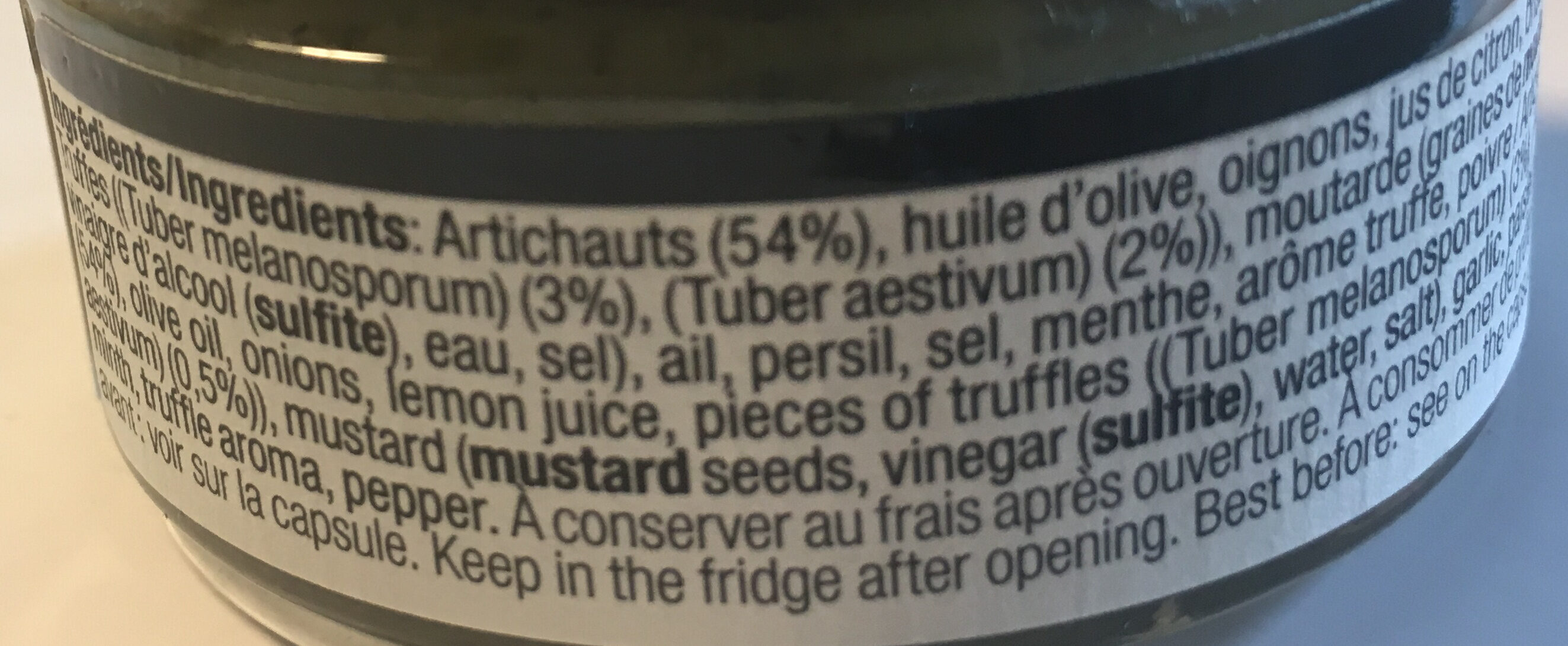 Crème d'artichaut à la truffe - Ingredients
