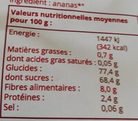 Ananas Rondelles - Nutrition facts - fr