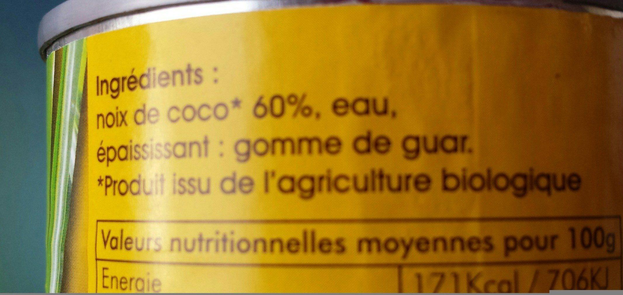 Lait de coco biologique - Ingredients - fr
