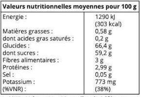 Raisins Sultanine - Informations nutritionnelles - fr