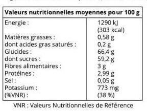 Raisins Thompson - Nutrition facts