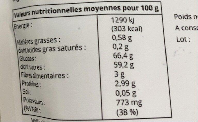 Raisins Thompson de la plaine de Manisa - Nutrition facts - fr