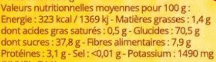 Bananes séchées 250g - Nutrition facts - fr