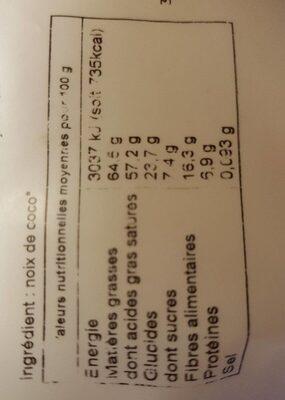 Noix de coco lamelles - Informations nutritionnelles - fr