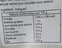 Mangues séchées bio - Nutrition facts - fr