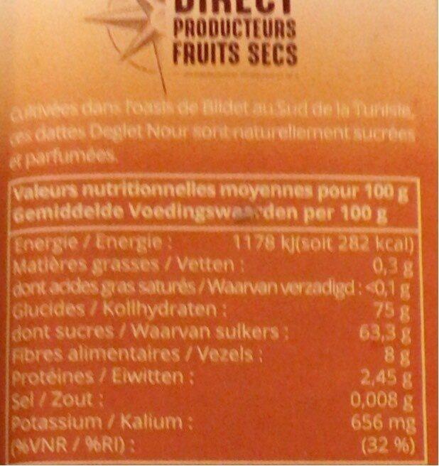 Dattes Deglet Nour Bio - Nutrition facts - fr