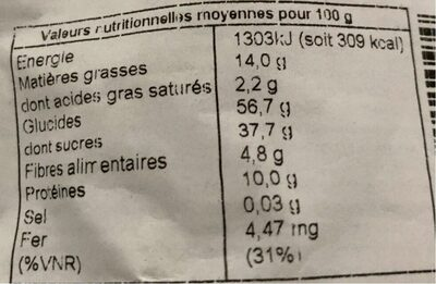 Mélange oriental - Nutrition facts - fr