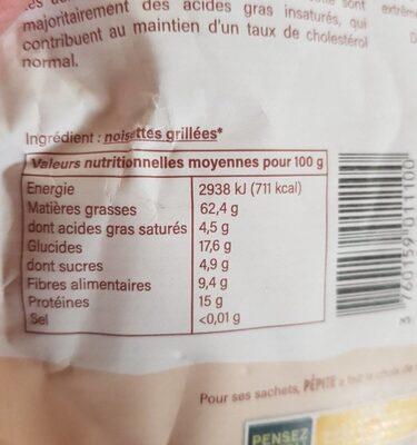 Noisettes grillées en poudre - Nutrition facts - fr